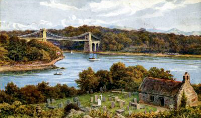 Postcard of colour painting of Menai suspension bridge taken from and including church island.